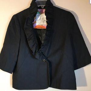 Milly Black Sz 8 Ruffle Bolero Crop Jacket 3/4 Slv
